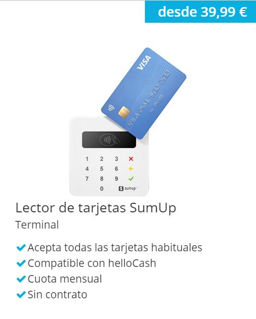 Lector de tarjetas SumUp - hellocash caja registradora online y TPV virtual todo en uno